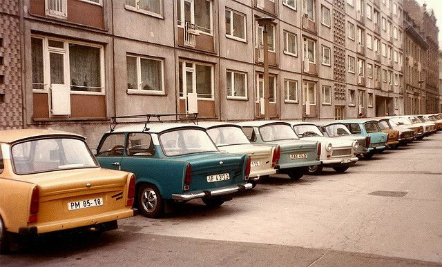 Germany, East Berlin, trabbies, October 1983 by elsa11, via Flickr
