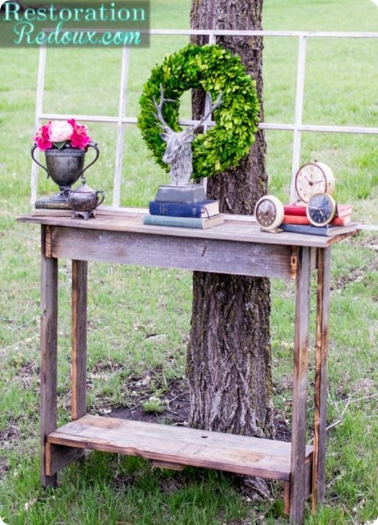 Rustic Console Table from Fence Wood {a Pottery Barn Knock Off}