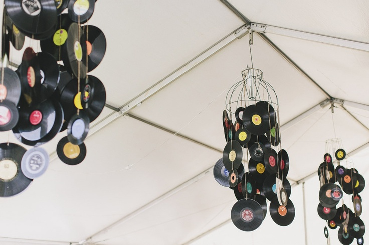 Record chandeliers - Music Themed Backyard Wedding: Bernadette & Peter · Rock n Roll Bride