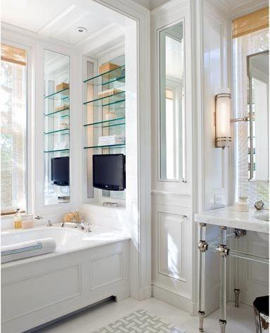mirror behind shelving creates more light