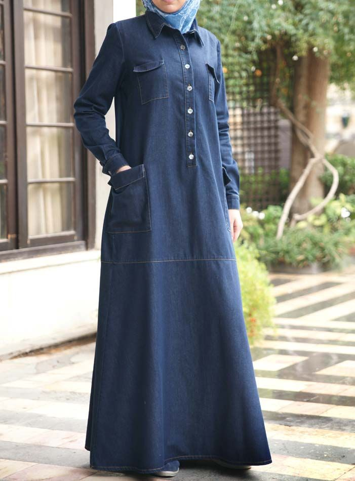 SHUKR USA | Denim Pocketed Dress