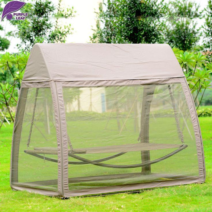 PurpleLeaf Patio ocio silla de oscilación del jardín al aire libre para dormir cama hamaca con una gasa y canopy