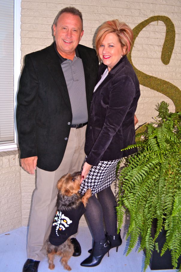 Fashion over 40. Classic Black & White. Velvet jacket and houndstooth.
