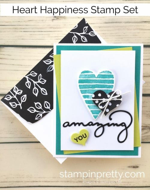 Learn how to create a simple Valentine's Day card using Stampin Up Heart Happiness - Mary Fish StampinUp Idea