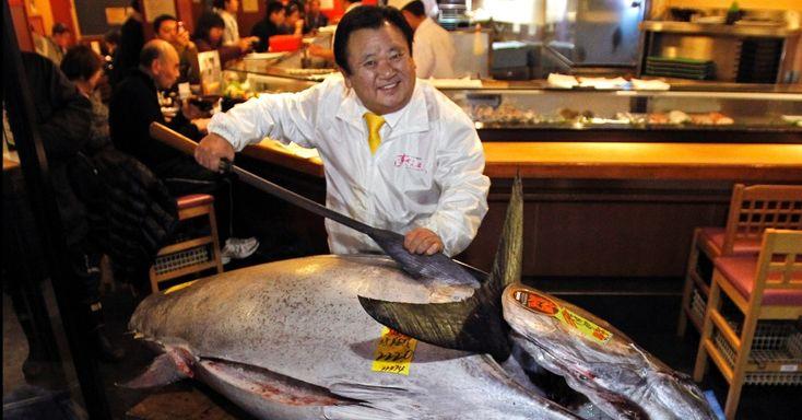 Kiyoshi Kimura segura atum gigante que será servido em seu restaurante, neste sábado (5), em Tóquio. O peixe encontrado no nordeste do Japão foi vendido pelo preço recorde de cerca de US$ 1,7 milhão (R$ 3,5 milhões). O atum-azul, espécie mais procurada por restaurantes japoneses, encontra-se em risco de extinção no oceano Pacífico