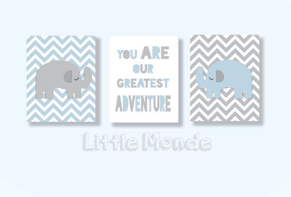 Baby Boy Nursery Art, Boy Nursery Prints, Blue Grey Nursery, Modern Nursery Art, Chevron Nursery.