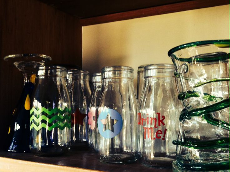 I love glass-these vintage cream bottles were a great find, we use them as everyday drinking glasses.