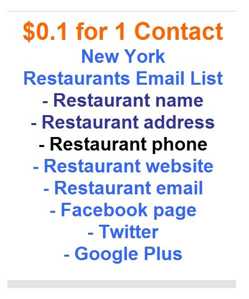 BUY cheap but still quality email list. This email list is actually Restaurants in New York.
