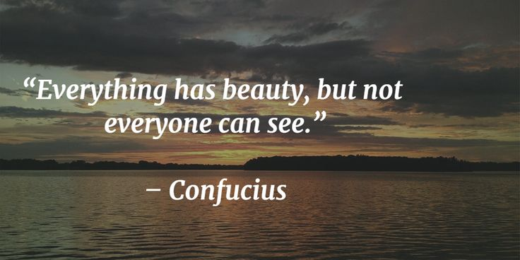 """Everything has beauty, but not everyone can see.""   – Confucius"