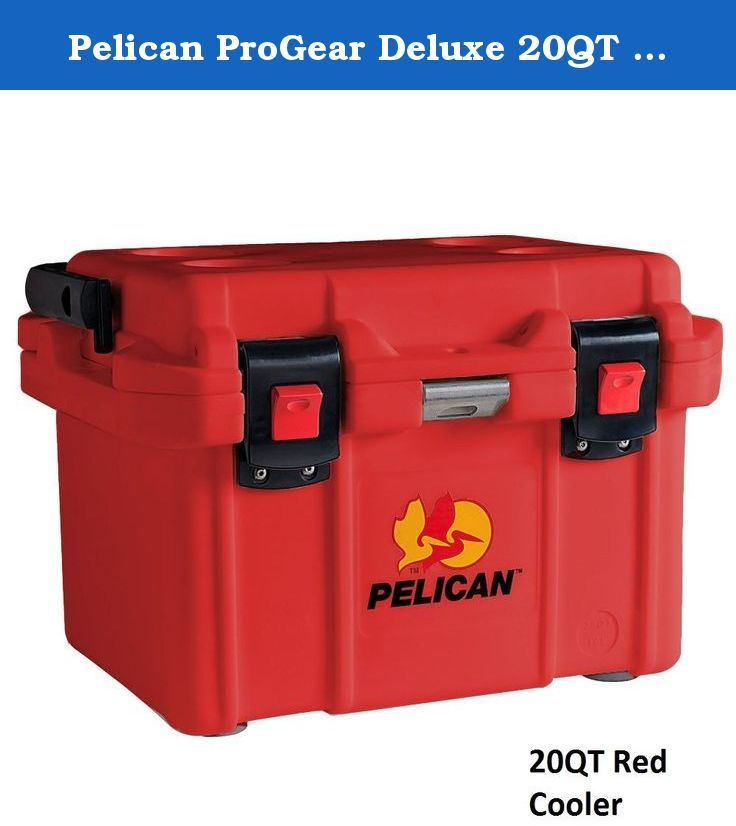 Pelican ProGear Deluxe 20QT 20 Quart Red Ice Chest Cooler. With extreme ice retention and durable construction, the Pelican 20 qt. Elite cooler was built for longevity. It features thick, molded Polyurethane insulation. For convenience and ease in carrying the cooler around, it has two sets of handles with one.