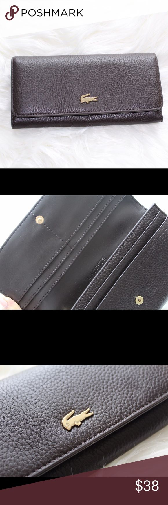 Lacoste Women's Brown Genuine Leather Wallet- OS Lacoste Women's Brown Geniune Leather Wallet with gold croc- Brand new! Never used! Great for gifting. 100% leather Lacoste Bags Wallets