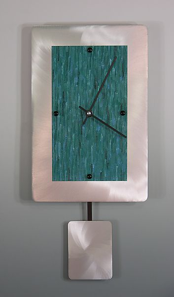 Teal+on+Brushed+Aluminum+Pendulum+Clock by Linda+Lamore: Painted+Clock available at www.artfulhome.com
