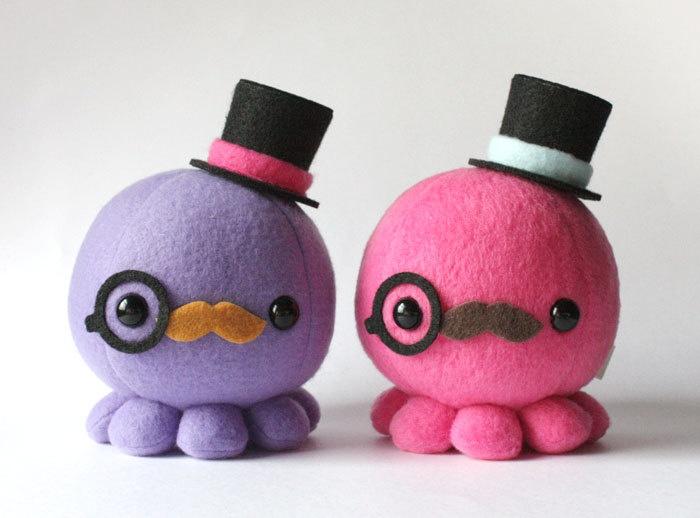 Moustache Octopus Plush w/ Top Hat and Monocle - Choose Colors. $17.50, via Etsy.