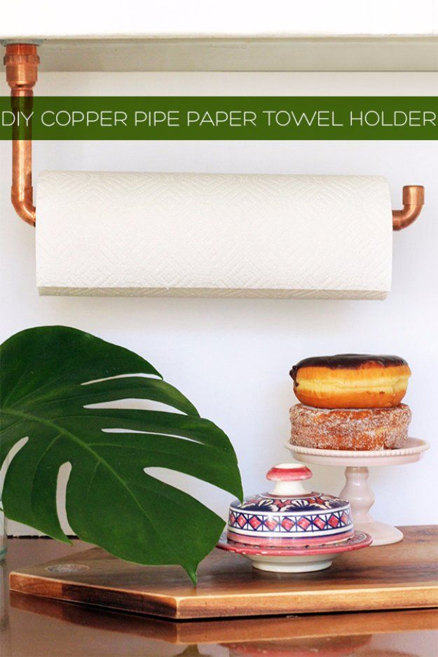 DIY Kitchen Decor Ideas - DIY Suspended Copper Pipe Paper Towel Holder - Creative Furniture Projects, Accessories, Countertop Ideas, Wall Art, Storage, Utensils, Towels and Rustic Furnishings http://diyjoy.com/diy-kitchen-decor-ideas