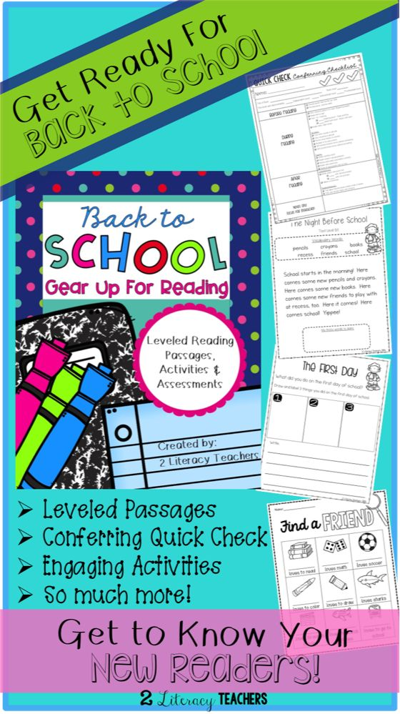 Get ready for back to school with this great packet! Many engaging activities are included! 3 sets of leveled passages, conferring checklist, class book, about me booklets, and on it goes! Get to know all your new readers while they work on these engaging activities with the quick conferring checklist!