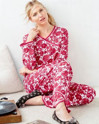Asian Wrap Pajamas - Color: Soft Mauve Mums in Size Med.