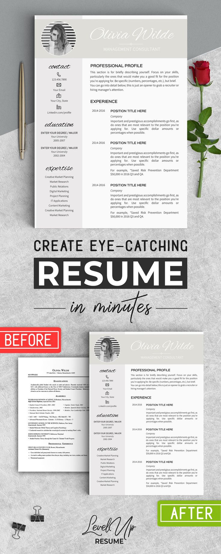 Resume Template for Word by LevelUpResume on @creativemarket #ad