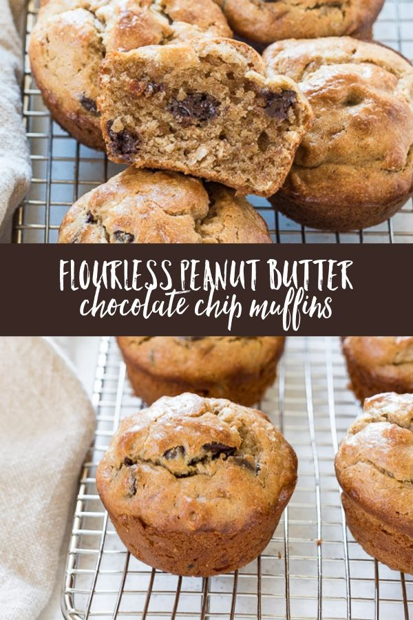 Flourless Peanut Butter Banana Chocolate Chip Muffins Are Fluffy