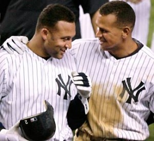 Derek Jeter (#2) and Alex Rodriquez (#13)