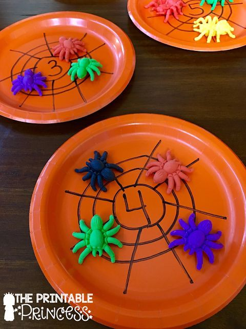Why didn't I think of this?! Draw a spider web on a plate...have students count that many spiders and put them on the web. She's got a free recording sheet on her blog.