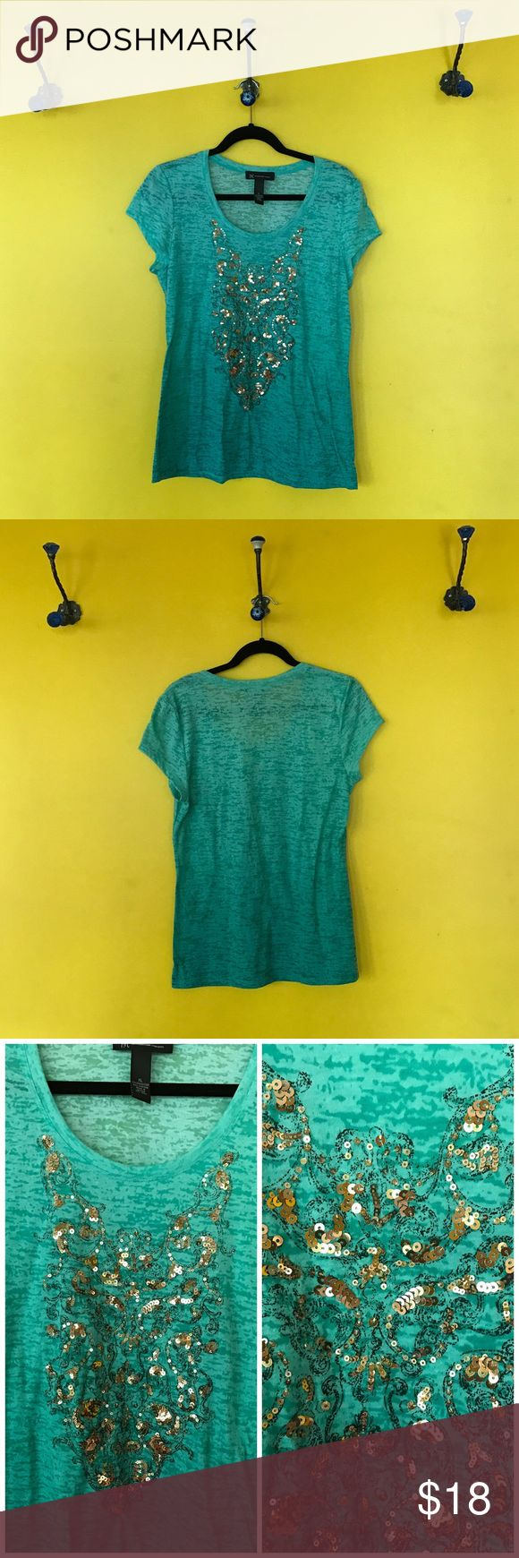 INC green short sleeve top with bronze accents INC green short sleeve top with bronze sequin accents. Gently used.  Perfect for summer  Approximate Measurements:  B: 19  L: 26 INC International Concepts Tops Tees - Short Sleeve