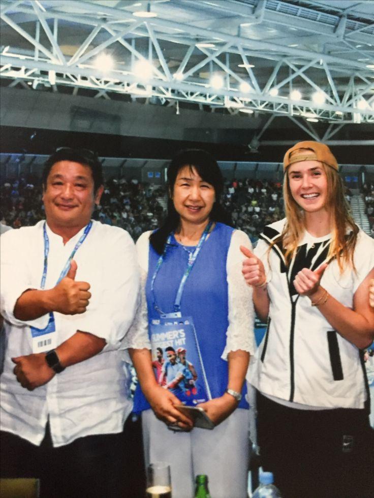 オーストラリアインターナショナルで、エリナ・スビトリナ選手と一緒。可愛いし強いし❤️