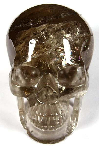 "RAINBOWS HUGE 5.2"" Smokey Quartz Rock Crystal Carved Crystal Skull, Realistic"