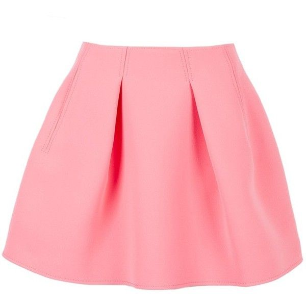 Kenzo Double Faced Pleated Skirt (Pink) ($515) ❤ liked on Polyvore featuring skirts, bottoms, saia, faldas, pleated skirt, pink knee length skirt, kenzo, pink skirt and red skirt