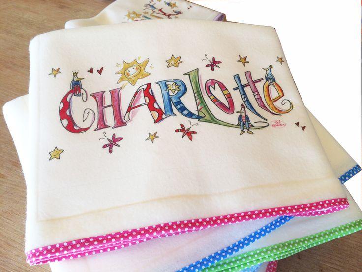 Babydecken - Babydecke, Krabbeldecke mit  Namen pink - ein Designerstück von RosiRosinchen bei DaWanda