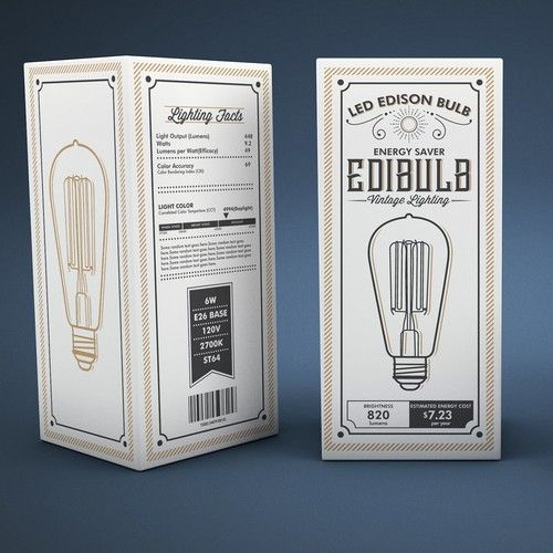 9 inspirational packaging design trends for 2017. Vintage inspired Packaging design by RašaRaša for LED Edison Bulb. #2017 #packaging #trends