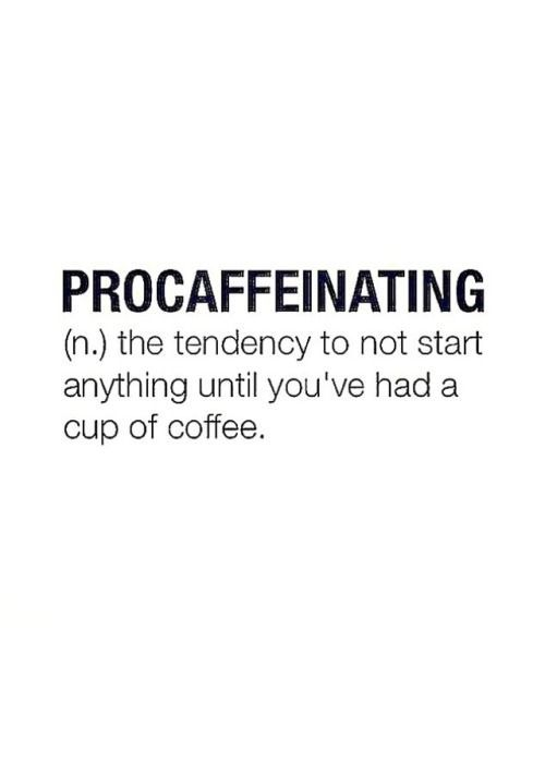 I am definitely a procaffeinator. Cup of coffee or nothing happens!