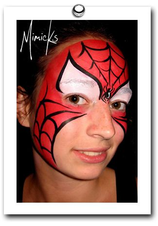 spiderman by mimicks face painting