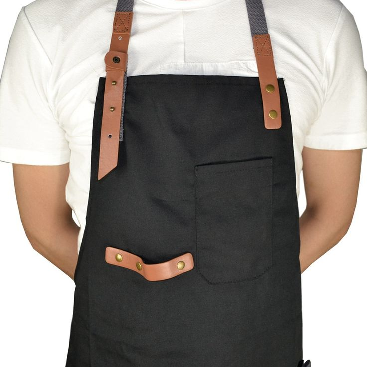 Black Men Kitchen Restaurant Apron Cooking Bib Aprons Working Apron Adjustable Straps Workwear Chef Aprons for. Click visit to buy #Apron