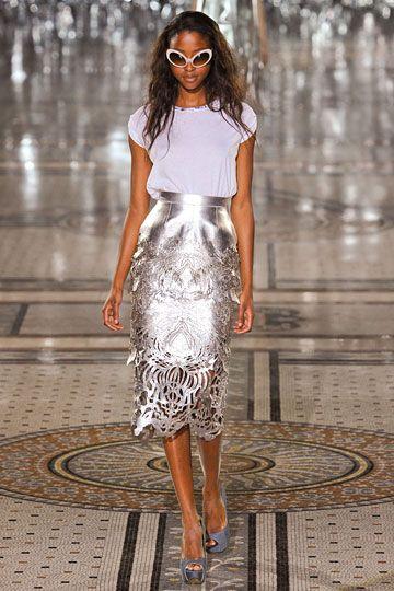 Metallic cutout skirt! Giles Deacon Spring 2012 RTW