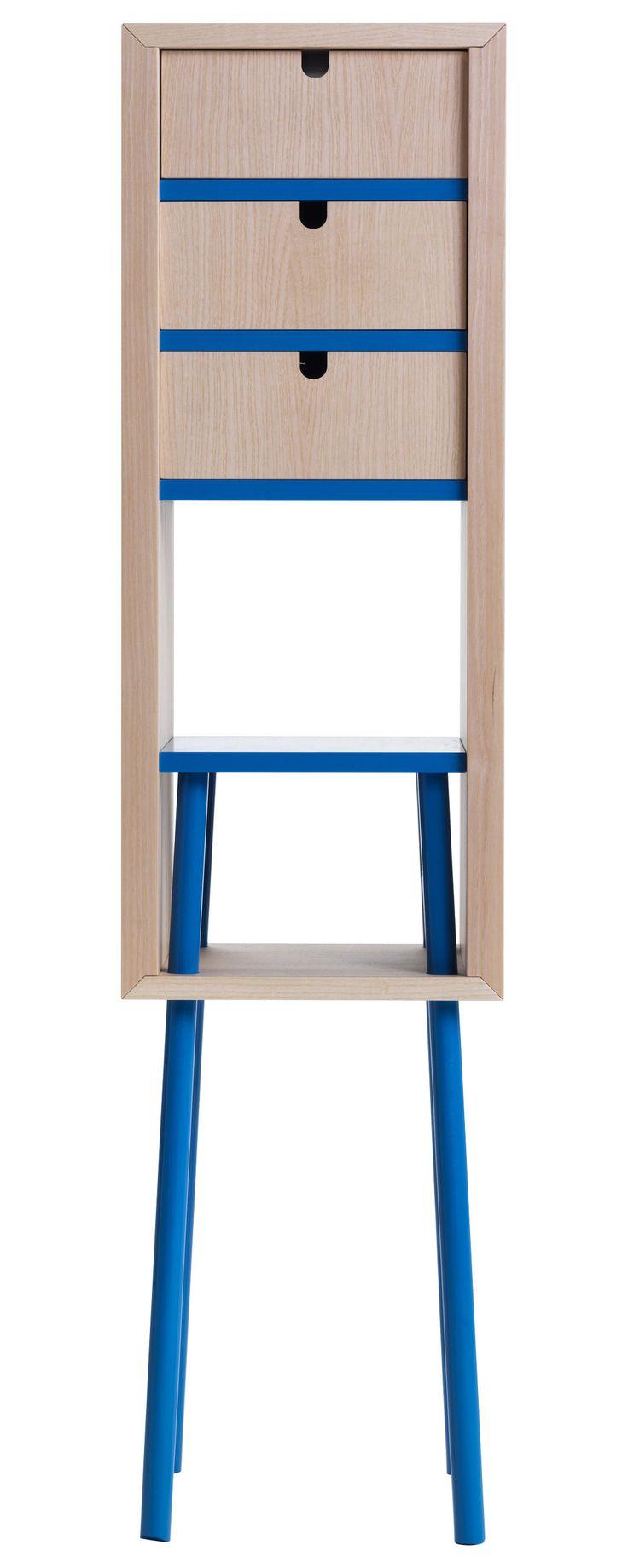 Ablage Obi / Groß   H 120 Cm   Mit 3 Schubladen, Natur / Blau