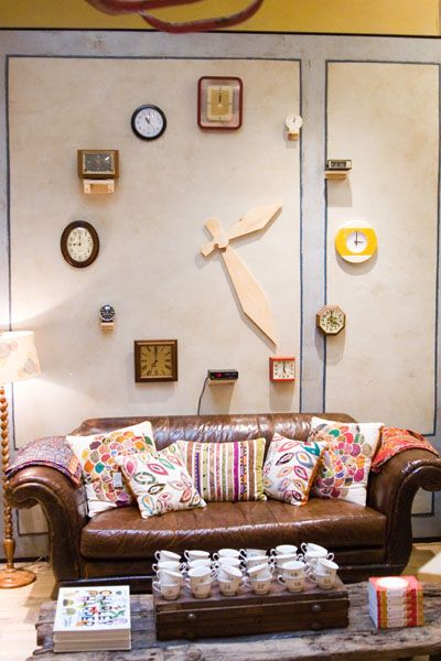 giant wall clock made from wall clocks! FUN!