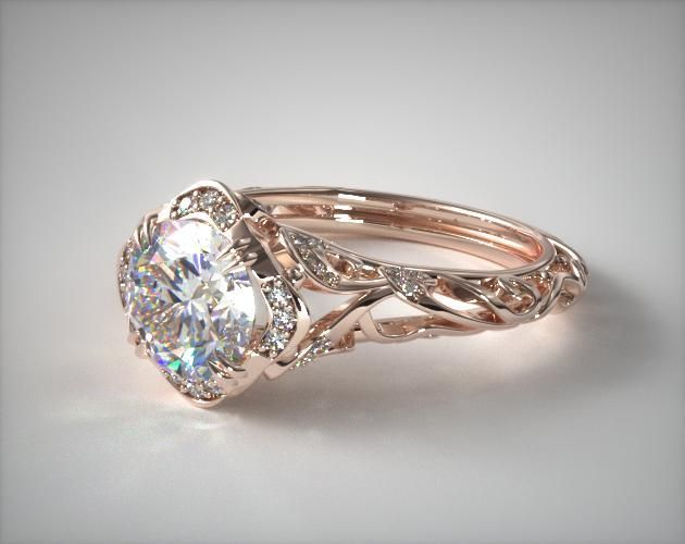 """Pretty as long as the jem isn't the same width as the band when looking at it from above. The rise gold is a nice touch, too. """"14K Rose Gold Diamond Filigree Engagement Ring"""""""