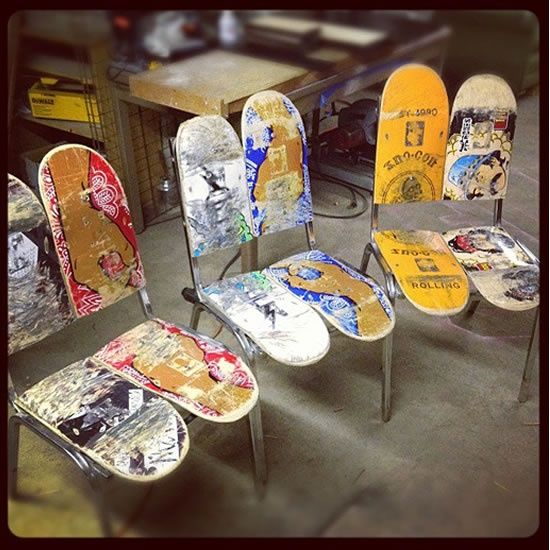 Loft ideas: These would be great with an industrial table in a loft. Skateboard chairs...perfect for big sons dining room...