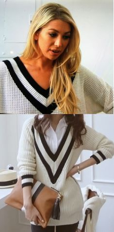 Stassi Schroeder's Black & White Varsity Sweater http://www.bigblondehair.com/reality-tv/stassi-schroeders-black-white-varsity-sweater/