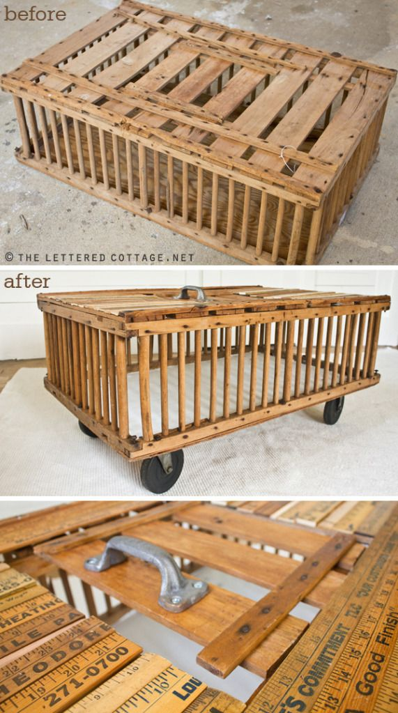 Chicken crate old wood rulers casters an awesome for Wooden chicken crate plans