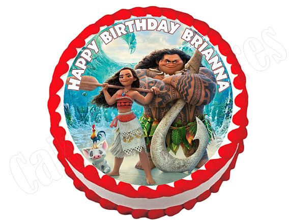 Moana round party decoration edible cake image cake topper