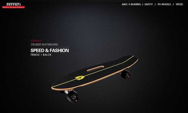 FERRARI Portable Cruiser Skateboard Non-slip Wood Panel Skate Scooter Aluminum Alloy Holder