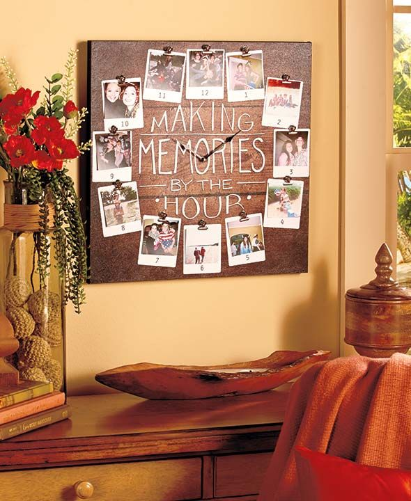 "Reminisce about favorite moments whenever you check time with this Making Memories Photo Wall Clock. This functional clock features 12 spaces to display 3"" sq. photos, keepsakes, mementos and more with the included clips. The oversized face makes it easy"