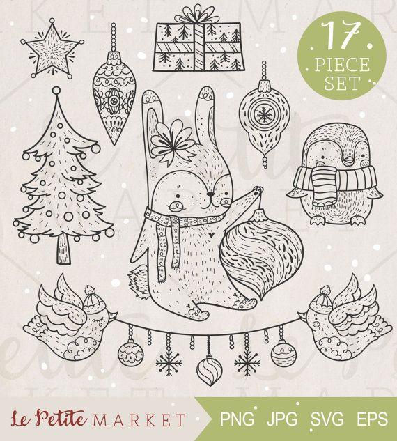 Cute Hand Drawn Woodland Animals Holiday Clip Art Set, Woodland Christmas Animals Decorating the Christmas Tree, Christmas Animal Clipart