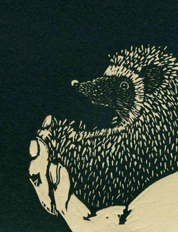 hedgehog linocut print by crankosauruspress