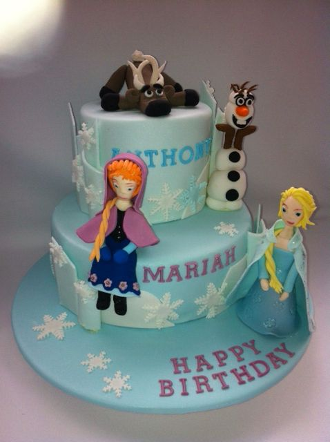 Frozen theme cake, with fondant characters.