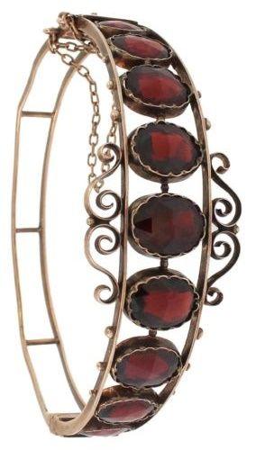 Original Antique Victorian Yellow Gold Filled Bohemian Garnet Bangle Bracelet