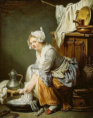 Jean-Baptiste Greuze (French Rococo Era Painter, 1725-1805) The Laundress 1761
