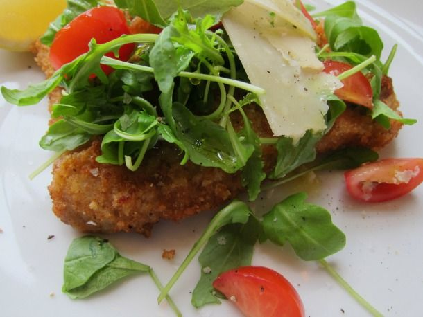 Veal Milanese with Arugula Salad.  tried to make this once without a recipe, which failed, so here I go!!!