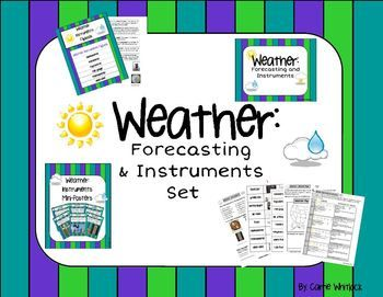 Weather Forecasting and Instruments Teaching weather forecasting can be difficult, but this pack makes it easy for you!  This pack goes over the instruments needed to observe, measure and record weather.  Also covered are how meteorologists forecast weather, air masses and fronts and the aspects of weather that we measure (air pressure, wind speed and direction, temperature, humidity, precipitation amounts). #Weather  #Science  #WeatherInstruments #WeatherForecasting  #CarrieWhitlockTpT…